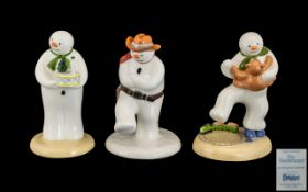 Coalport Collection of Hand Painted First Edition Bone China Snowman Figures ( 3 ) In Total.