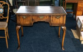 Edwardian Walnut Low Boy Table with Three Drawers with cross banded edges and engraved brass plate
