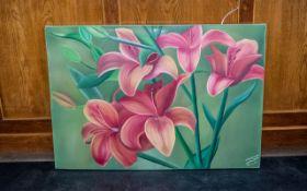 Large Oil on Canvas of Orange Lilies by Iranian Artist Shahrebanoo Gezelbash.