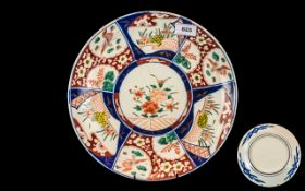 "Large Imari Charger, decorated within panels, of typical form. 14"" diameter."