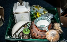 Box of Assorted Pottery & Collectibles comprising a large cream ceramic lamp base 20'' tall, with