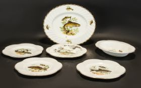 """Shelley Ware Five Piece Fish Set comprising 4 x 9"""" plates, oval baker,"""