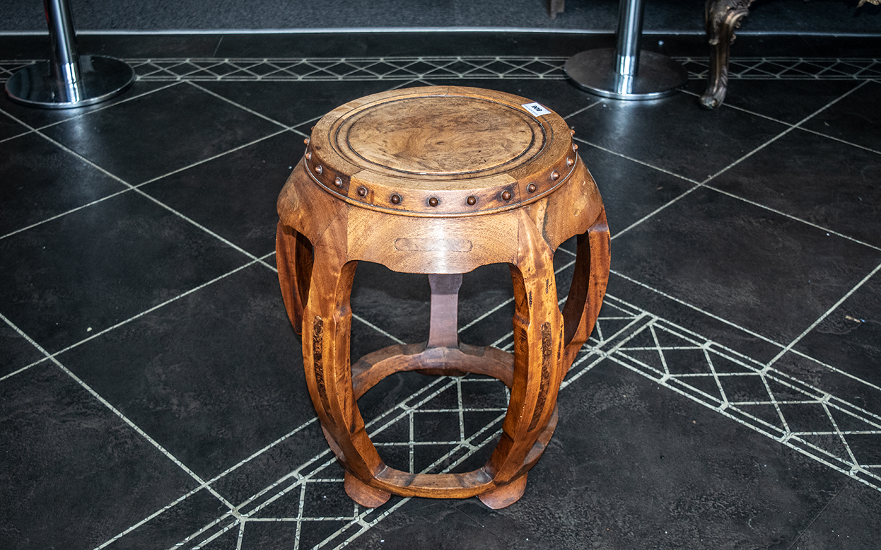 Antique Chinese Barrel Stool of fine quality, with a burr-mulberry top, supported on five shaped