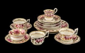 A Collection of 19thC Swansea Style and Associated Tea Ware all decorated with pink roses with gilt