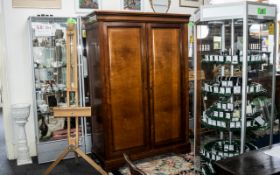 Double Cherry Wood Wardrobe modern French style, two opening doors with key,