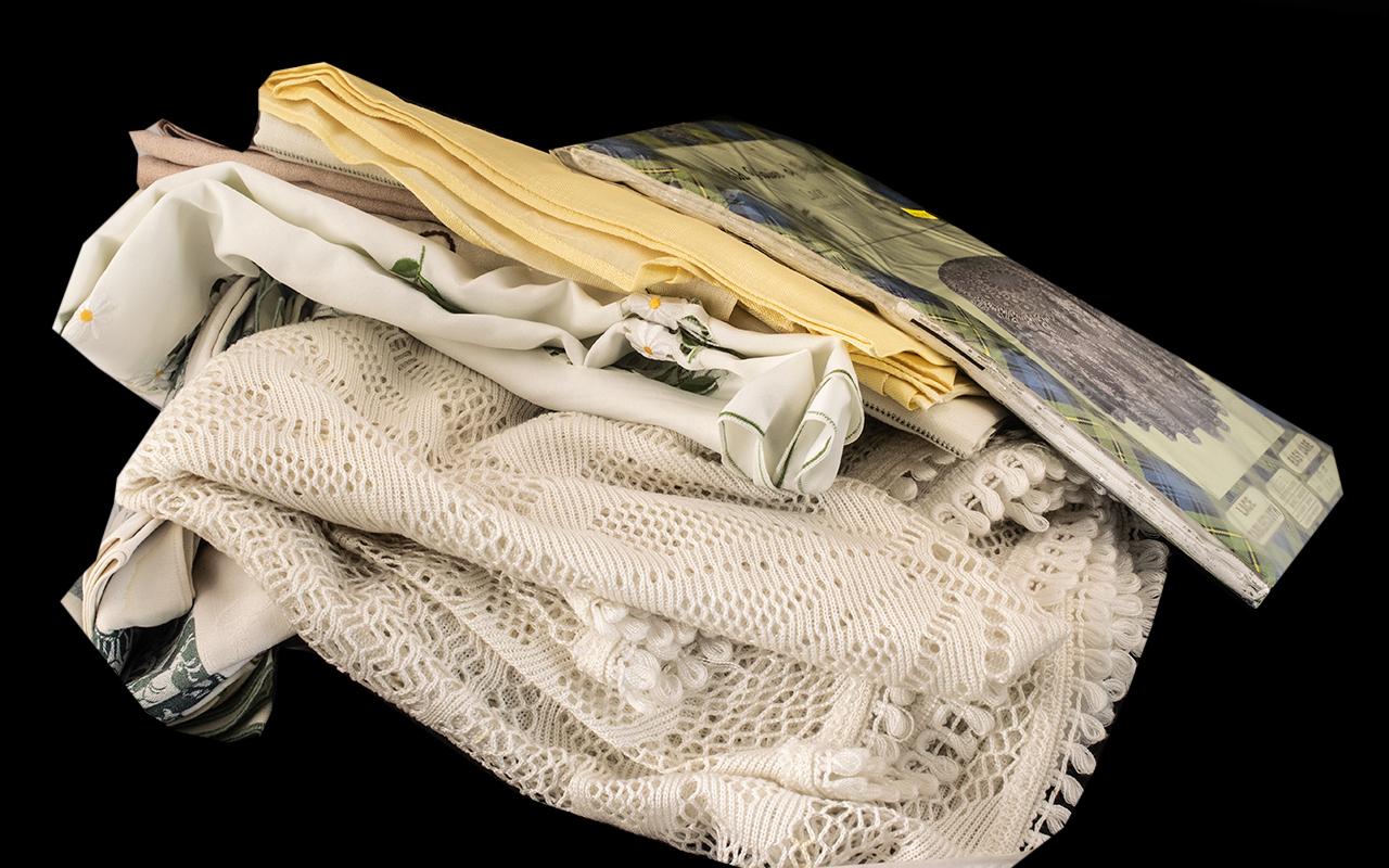 Bag of Linen Tablecloths including napkins, crochet tablecloth, lace tablecloth, embroidered linen,