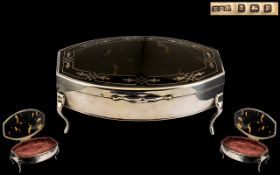 A Superb Quality Sterling Silver Trinket Box with Tortoiseshell Cover,