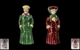 Royal Worcester Hand Painted Porcelain Pair of Ltd and Numbered Edition Figural Candle Snuffers '