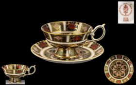 Royal Crown Derby Imari Pattern 22ct Gold Banded Cup and Saucer of Wonderful Form Pattern No 1128 &