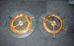 A Pair of Partly Converted Ships Wheel w