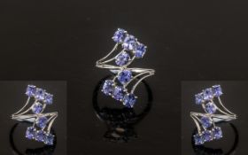 Tanzanite Crossover Cluster Ring, 3cts o