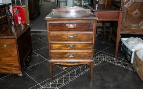 Edwardian Four Drawer Stained Beech Musi