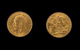 George V 22ct Gold Full Sovereign - Date
