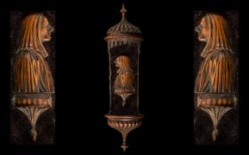 An 18th Century Holy Water Wall Bracket Carved in Fruitwood,