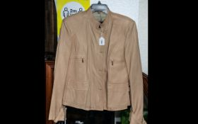 P R Roldie Ladies Real Leather Jacket, made in Spain, honey beige silky leather, fully lined, button
