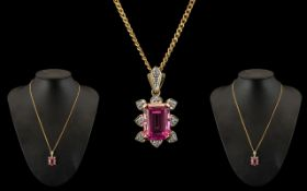 Ladies - Attractive 9ct Gold Tourmaline and Diamond Set Pendant - Attached to a 9ct Gold Chain.