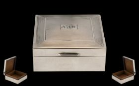 Sterling Silver Engine Turned - Square Shaped Hinged Cigarette Box, Cedar Wood Interior.