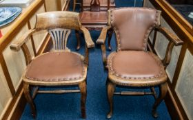 Five Various Chairs comprising two oak office chairs, two Edwardian inlaid mahogany chairs,