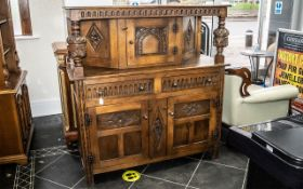 Mid 20th Century Oak Court Cupboard, typical form, Jacobean style, turned and carved supports.