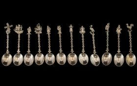Dutch - Netherlands Superb Silver 12 Piece Matching Set of Figural Topped Tea Spoons - Various