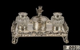 Early Victorian Period Elegant & Wonderful Quality Sterling Silver Combined Double Inkwell & Stand