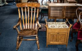 Antique Lancashire Slat-backed Stained Beech Rocking Chair on rockers, circa 1880s,