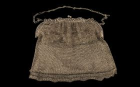 Antique Period Ladies Silver Mesh Purse of Large Proportions with Silk Interior.