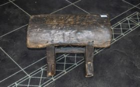 Primitive Antique Log Stool. The Sides Supported by Double Square Columns on a Shaped Stretch Base.