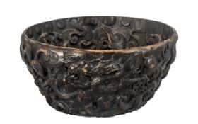 Chinese Bowl, highly decorated throughout with dragons, decoration inside and outside. Diameter 14.