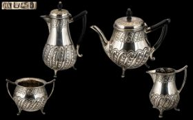 Victorian Period Superb Sterling Silver ( 4 ) Piece Bachelors Tea Service,
