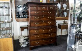Georgian Mahogany Chest on Chest circa 1780s, with graduated drawers to the top, with fine cast