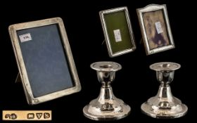 Miscellaneous Lot of Silver Items including a small pair of candlesticks,