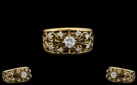 14ct Gold - Attractive Diamond Set Ring,