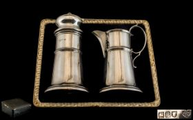 Edwardian Period 1902 - 1910 Arts and Crafts - Hand Made Matched Pair of Sterling Silver Stylished