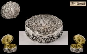 French 19th Century Napoleonic Silver Snuff/ Trinket Box of stunning quality,