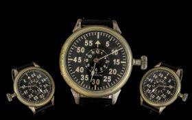 Zenith - Aviation Military White Metal Metal blanc Manual - Wind Pocket Watch - Pilots Wrist Watch.