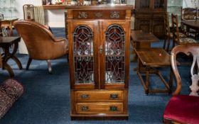 Mahogany Edwardian Double Leaded Door Music Cabinet,