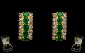 18ct Gold Attractive and Stunning Pair of Emerald and Diamond Set Earrings. Full Hallmark for 18ct.