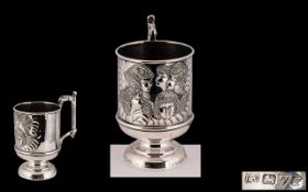 Edwardian Period - Fine Quality Sterling Silver Cup of Small Proportions with Embossed Images of
