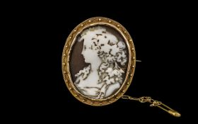 Antique Period Shell Cameo Brooch Set In a 15ct Gold Oval Shaped Ornate Mount with 15ct Gold Safety