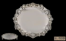 Victorian Period ( Late ) Sterling Silver - Card / Drinks Circular Tray / Salver with Shell