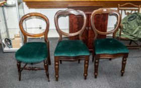 Three Various Victorian Balloon Back Chairs, with drop-in seats