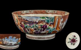 18th Century Chinese Export Punch Bowl, painted in the Mandarin Pottery,