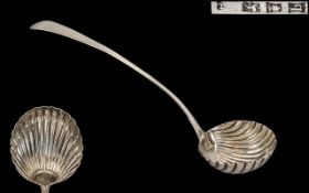 George III Superb Quality - Silver Ladle of Large Proportions with Shell / Fluted Pattern Bowl and
