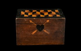 Georgian Mahogany Tea Caddy with a parquetry top and inlaid heart shaped escutcheon with two arrows;