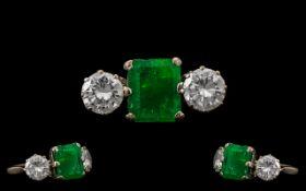 Platinum - 1930's Stunning 3 Stone Emerald and Diamond Set Dress Ring.