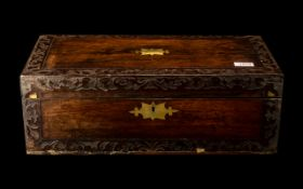 Antique Rosewood Box. Brass Inlay Missing to the Edges. c.1820.