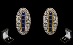 Ladies Fine Pair of Attractive 18ct Yellow Gold Sapphire and Diamond Set Earrings of Excellent