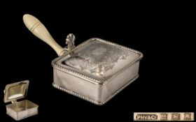 A Gentleman's Butlers Sterling Silver Portable Bone Handle Lidded Ashtray of Excellent Proportions