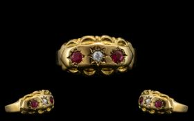 Edwardian Period 18ct Gold Attractive Ruby and Diamond Set Ring - Star Setting.
